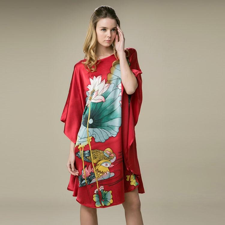 100% Silk Satin Dress Women Silk Dresses Natural Silk Free Size Handmade Painted Dress Red Floral Pattern Free Shipping