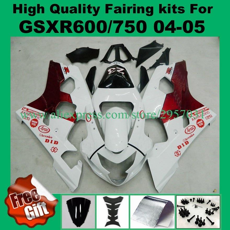 حقن K4 K5 هدية عدة ل GSXR600 GSXR750 2004 2005 سوزوكي GSX-R600 GSX-R750 04 05 # 22N6-X fairings هيكل السيارة 9 هدايا