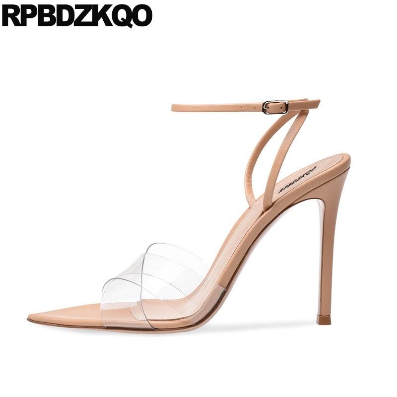 Pumps Pvc Famous Brand High Heels Luxury Shoes Women Designer Sandals Ankle Strap Transparent Ladies Slingback Stiletto Nude