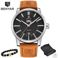 2019 new luxury brand benyar men sport watches mens quartz clock man army military leather blue wrist watch relogio masculino