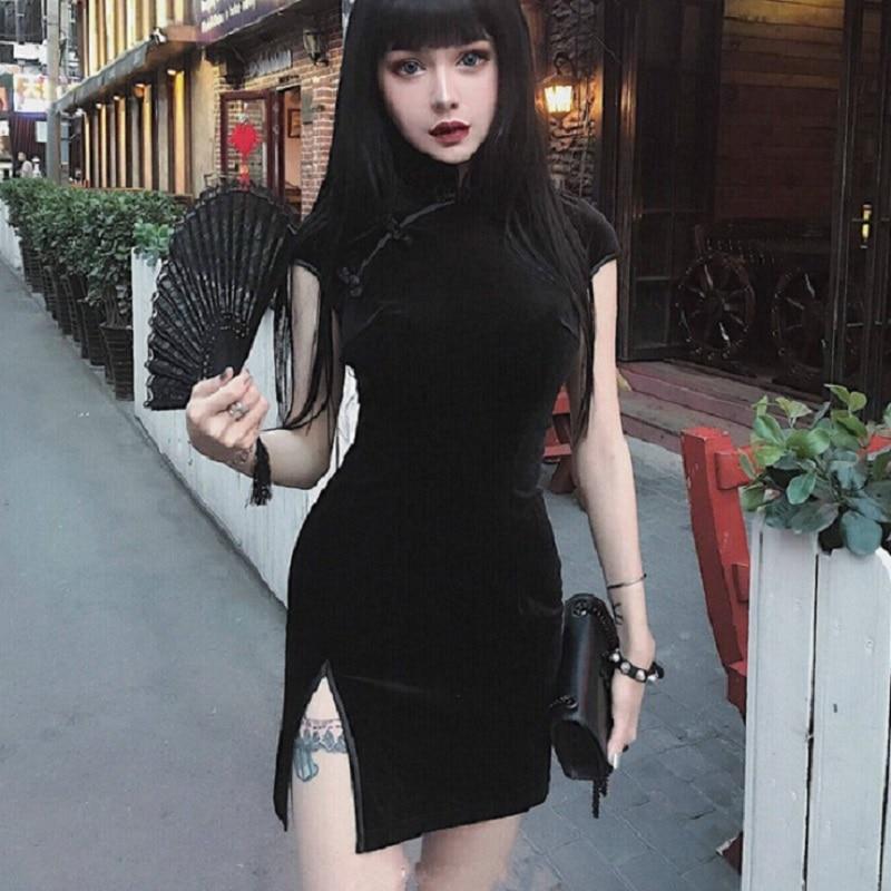 Платье женское, черное, розовое, с бархатом