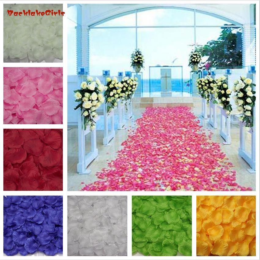Lote de 500 unidades de 5x5CM, 2020 unidades por mayor, lote de 500 flores artificiales de poliéster para decoración de bodas, pétalos de rosa para bodas, flores de fiesta