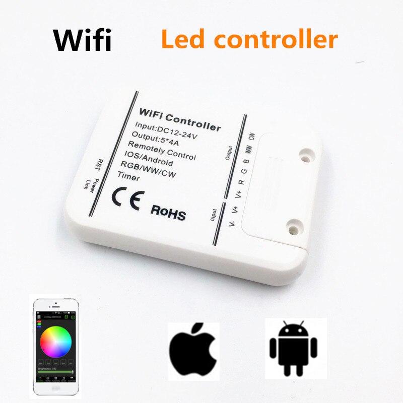 1 Uds. Controlador led wifi iginal 16 millones de colores Wifi 5 canales RGB/WW/CW Controlador led smartphone control de música y modo temporizador