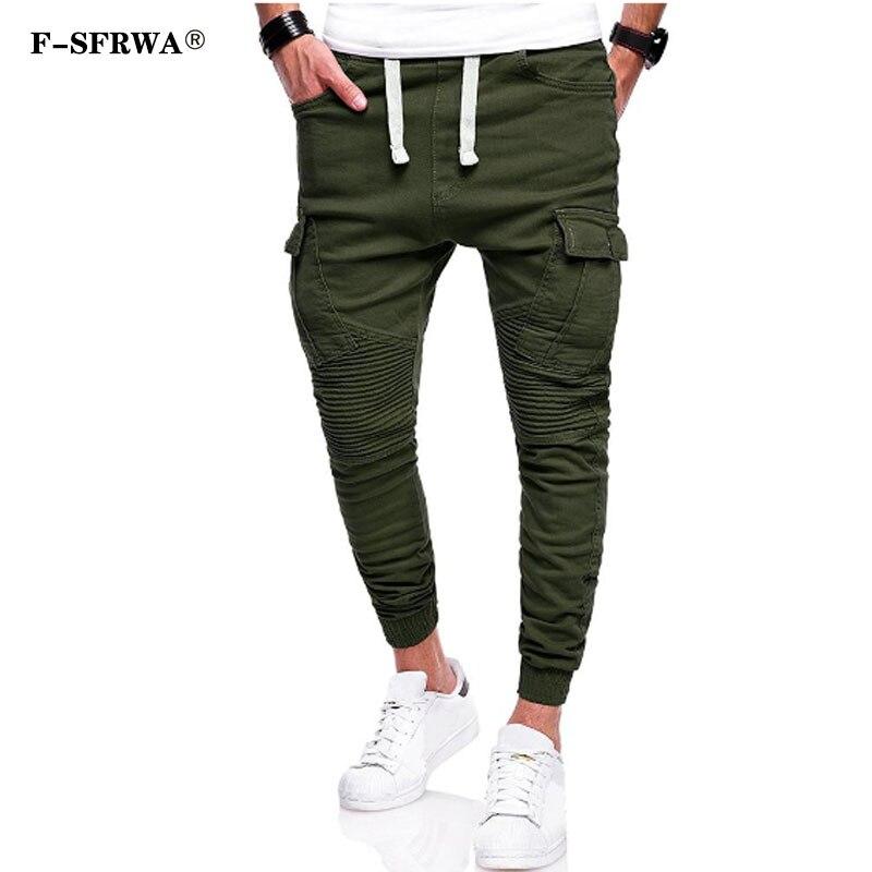 F-SFRWA Joggers para hombre, 2019, marca Hip Hop, pantalones para hombre, pantalones casuales con pliegues sólidos, pantalones de chándal, Jogger de color caqui, talla grande 4XL
