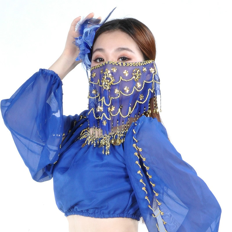 Novo Design Barato Mulheres Barriga Indiano Rosto Véu Dança Dança Do Ventre Tribal Véus de dança para Venda 9 Cores Disponíveis 1 Pcs Rosto Véu