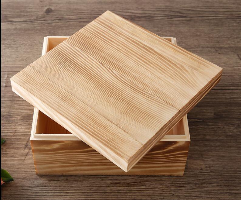 1 Uds 20*20*10CM caja cuadrada de almacenamiento caja de madera organizador de joyas caja de regalos de boda almacenamiento collar pendientes caja de anillo