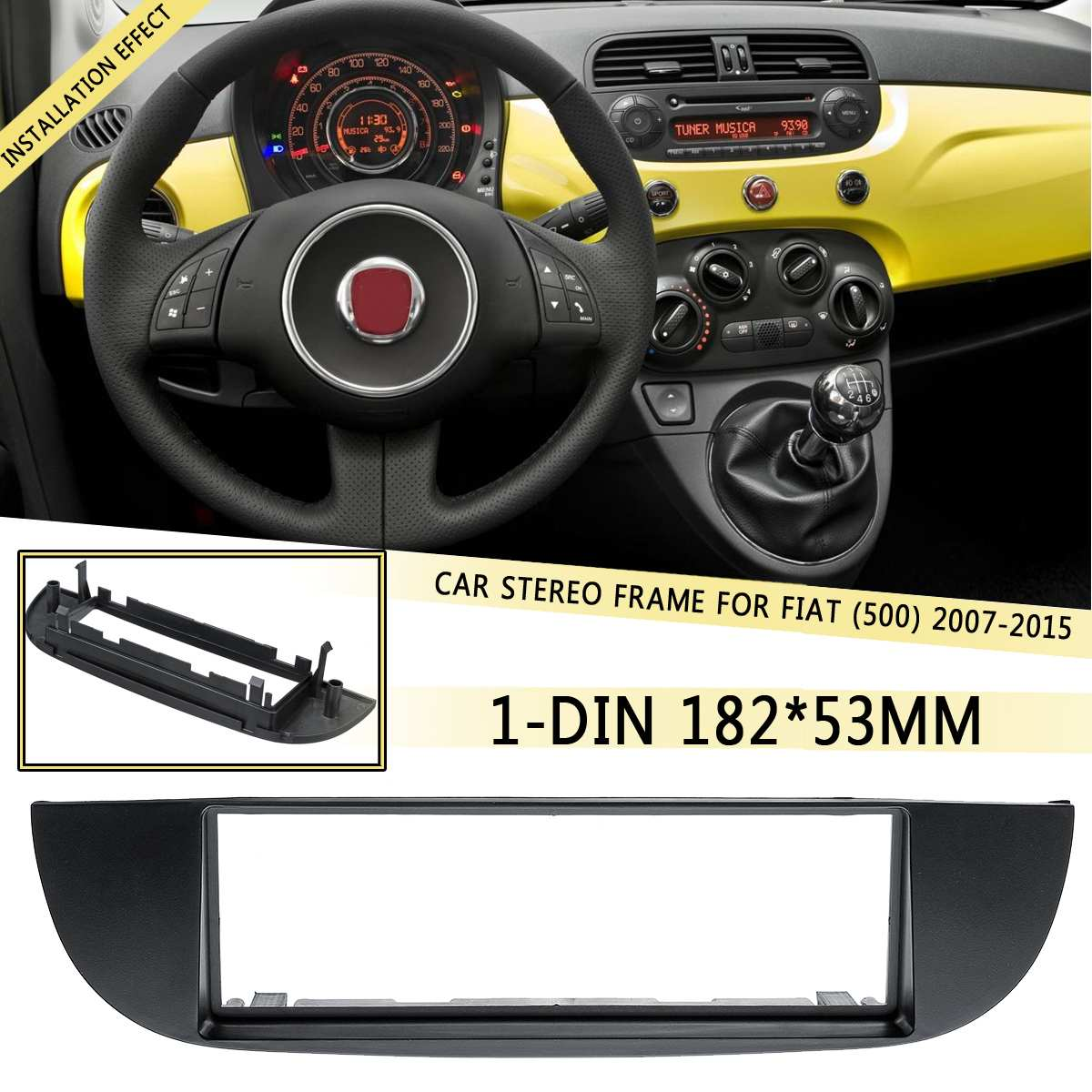 1 DIN Car DVD/CD Radio Stereo Frame Facia Panel Trim Adapter Dash kit For Fiat (500) 2007 2008 2009 2010 2011 2012-2015 182x53mm