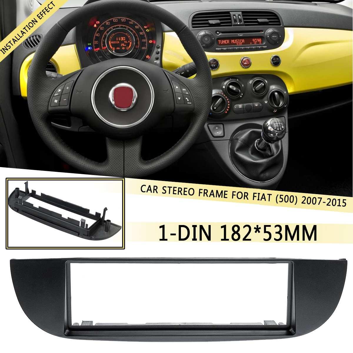 1 DIN coche DVD/CD Radio Estéreo marco para salpicadero Panel Trim adaptador Dash kit para Fiat (500) 2007, 2008, 2009, 2010, 2011, 2012-2015 182x53mm