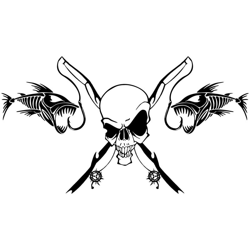 25.4*14CM Fishing Skull Skeleton Fish Rod Reel Car Sticker Classic Funny Body Decoration Accessories C6-0614