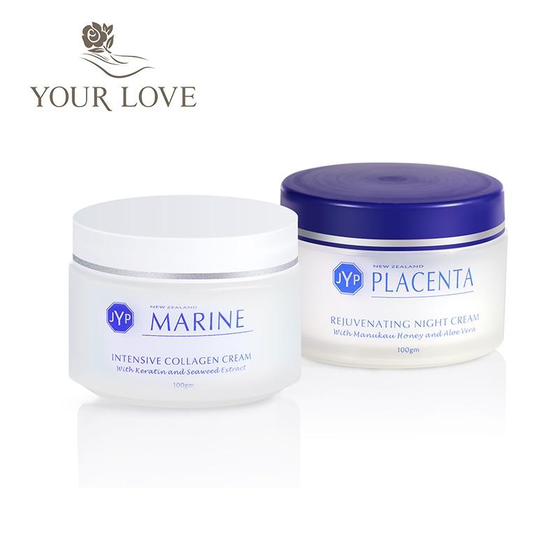JYP Marine Collagen Day Cream+Rejuvenating Sheep Placenta Night Cream Face Body Care Set High Quality Moisturizing Touch Cream