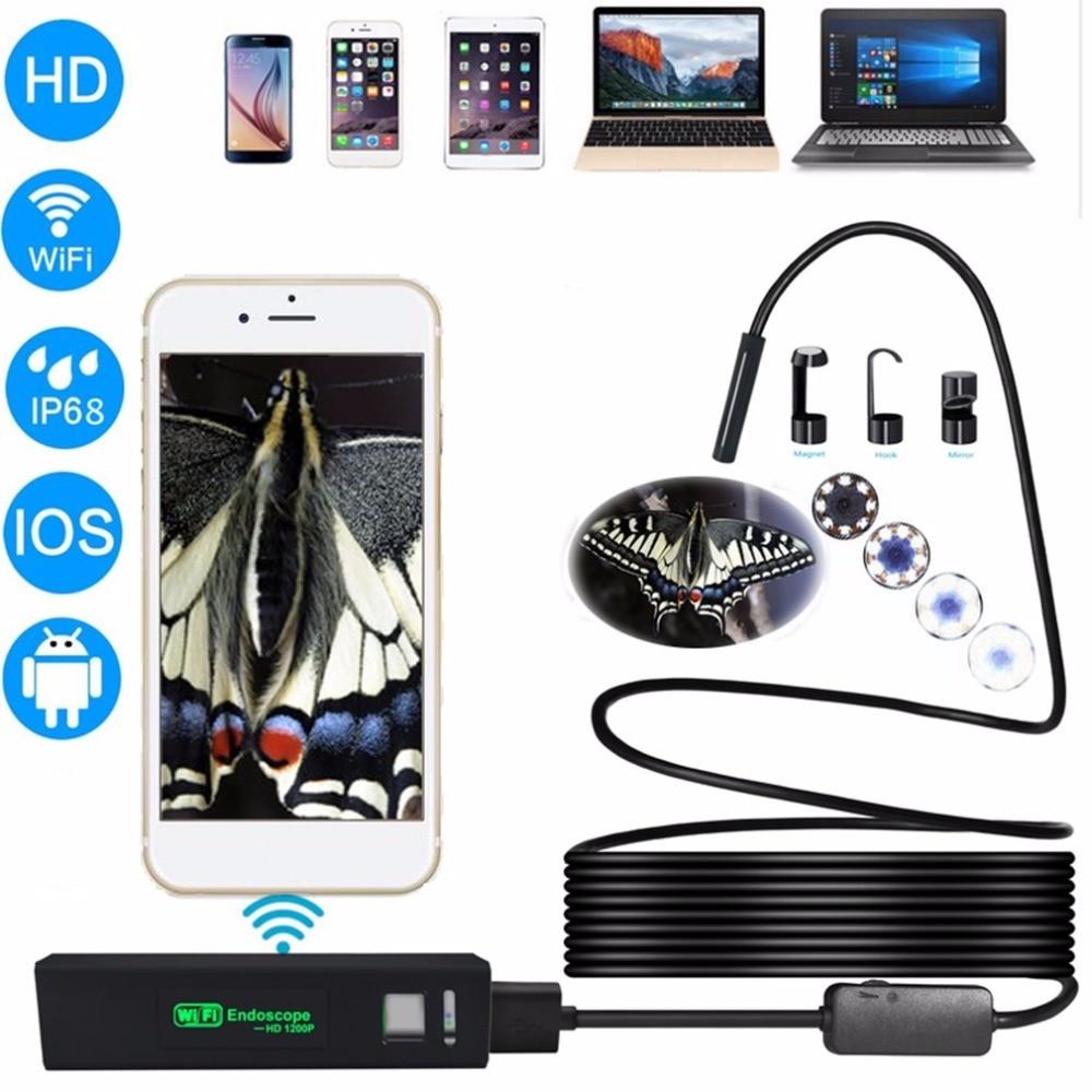 Endoscopio WiFi inalámbrico 2M HD 1200P Mini cámara de inspección semirrígida impermeable 8mm lente 8 LED boroscopio para IOS y Android PC