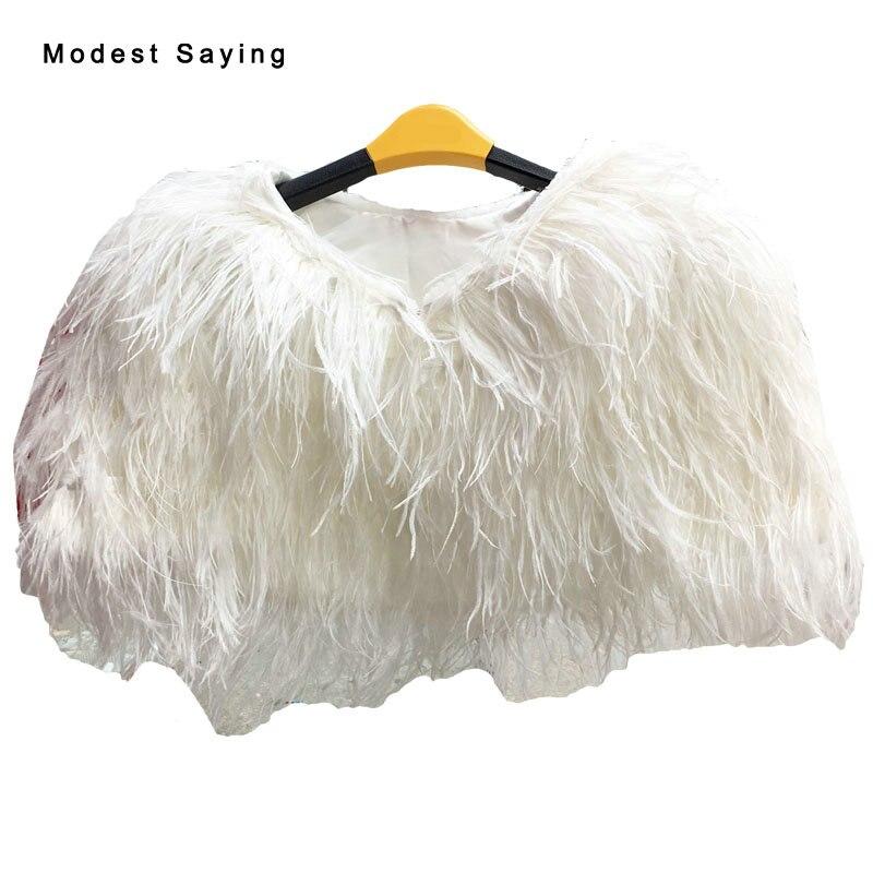 Elegante pluma de avestruz marfil de piel de invierno boda abrigos 2017 formales capas cálidas boleros nupciales chal boda accesorios YB1