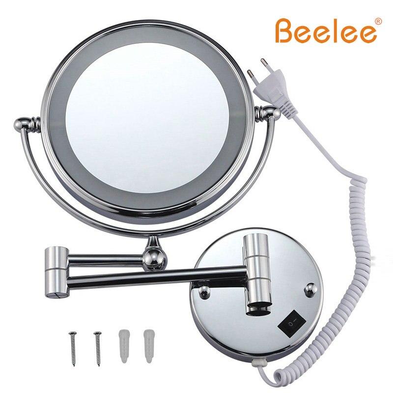 Espejo retrovisor de pared Beelee, espejo Led de doble cara giratorio de 360 grados, lupa de 8 pulgadas y 5 x, espejo de luz M1805