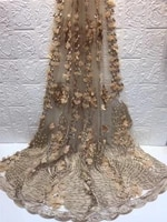5yards 3d applique flower new fashion mesh tulle embroidery french net lace fabric with beads h 121613
