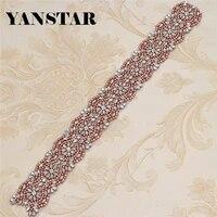 yanstar wholesale 30pcs handmade rhinestones appliques iron for wedding dress belts silver rose gold rhinestone 45cm6cm ys876