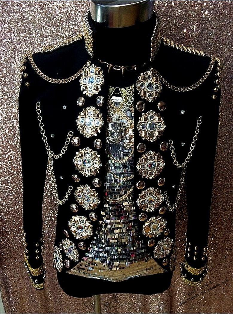 زي ملكي من الكريستال الأسود للرجال ، أزياء ملهى ليلي ، سترة رقص ، ملابس خارجية كلاسيكية