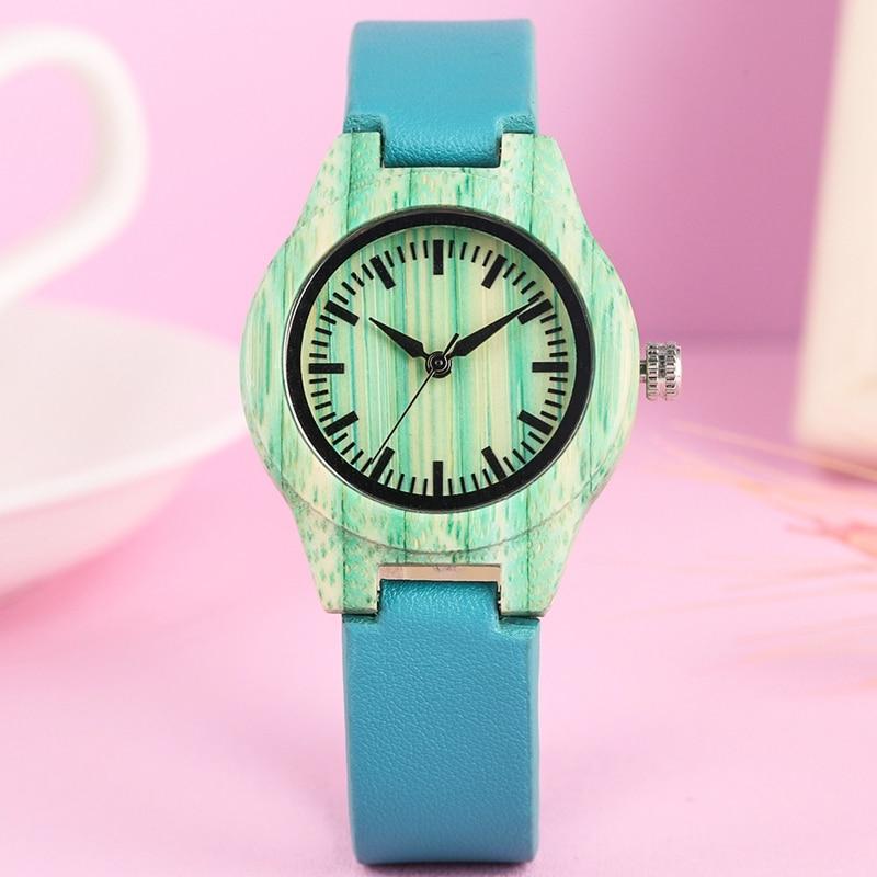 Moda verão As Mulheres Se Vestem Pulseira Relógio Único Mint Verde de Madeira Relógio Criativo Relógio das Mulheres De Couro Azul relógio de Pulso Reloj Mujer