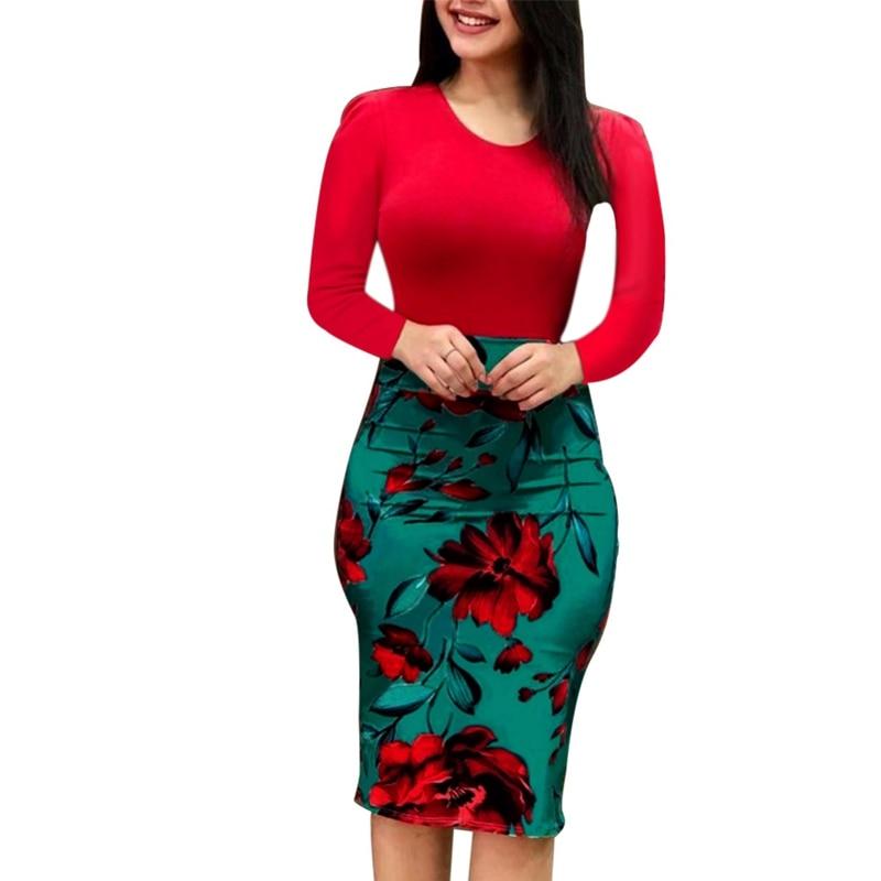 Vestido de Otoño de mujer elegante 2018 sobre el tamaño Sexy vestido de tubo Floral de manga larga vestido de fiesta de noche Vestidos Bodycon