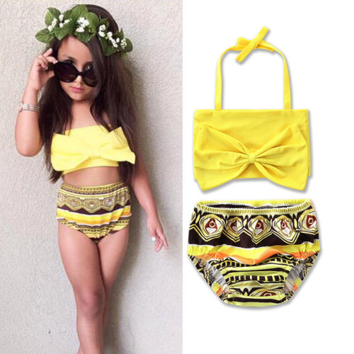 Bebê Meninas Maiôs Two-Piece Swimwear Cintura Alta Bowknot Bikini Maiôs Praia Swimwear Verão Se Encaixa 2-7 T Encaixa