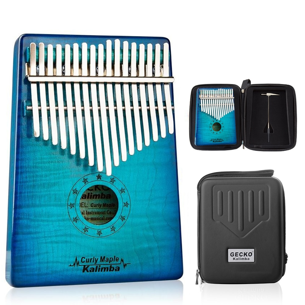 GECKO Kalimba 17 Schlüssel LOCKIGE AHORN Daumen Klavier und EVA Hohe Leistung Schutz Box, Tuning Hammer, professionelle modelle MC-BL