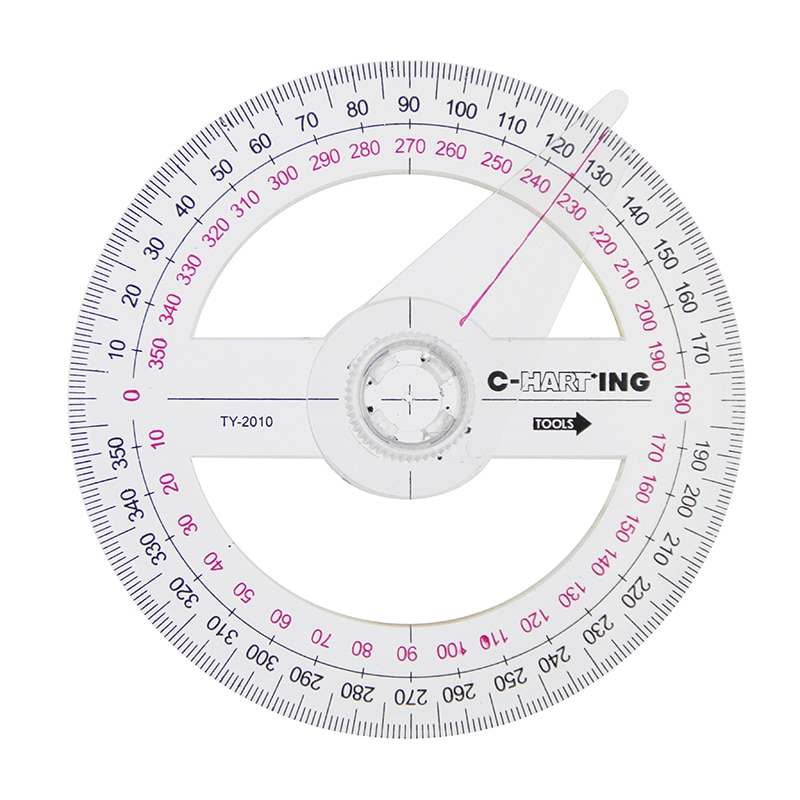 Hot Sale All Circular 10cm Plastic 360 Degree Pointer Protractor Ruler Angle Finder Swing Arm For School Office Supplies