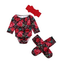 Pudcoco Newborn Kid Baby Girl 0-24M Romper Floral Clothes Off Shoulder Long Sleeve Romper+Socks 3PCS Outfits Set