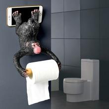 Statue de singe créative suspendue   Porte-rouleau de papier, support mural, Sculpture en résine, décor de salle de bains maison, décoration de fête cadeau, livraison directe