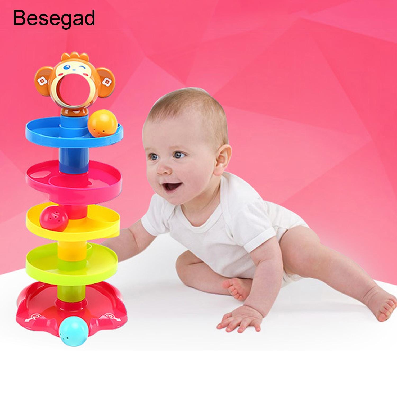 Torre giratoria Besegad de 5 niveles, juguete con rampas para bebés, niños pequeños, juguetes educativos para el desarrollo de los niños