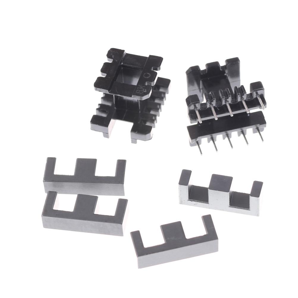 5 Juegos (10 mitades de ferrita + 5 bobinas) núcleo Vertical de ferrita EE25 5 + 5 pines bobina del transformador