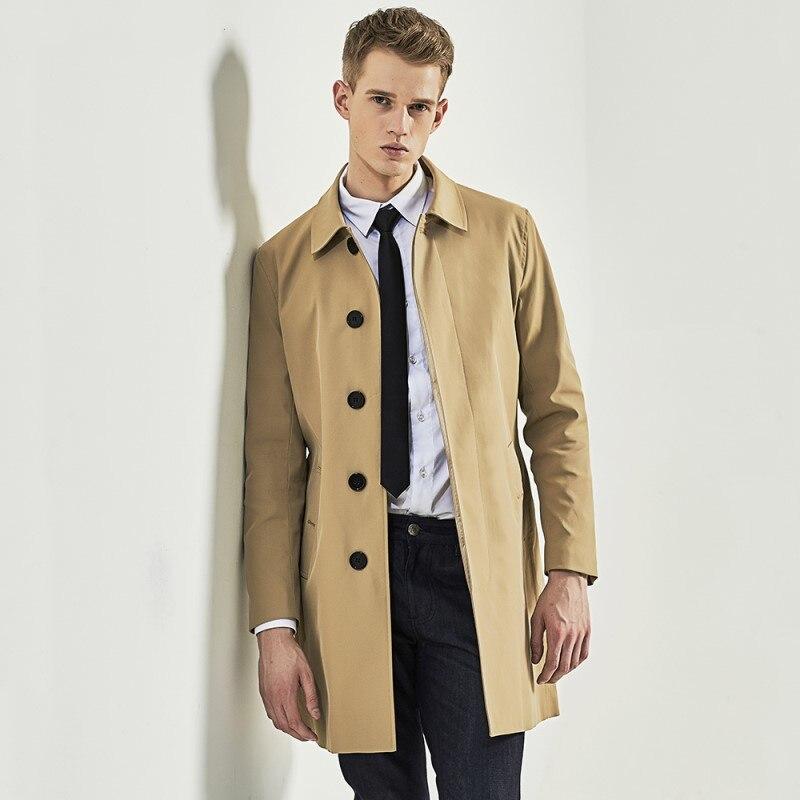 New Arrive Male Single Breasted Trench Medium-Long Khaki Fashion Coat Slim soild S-3XL