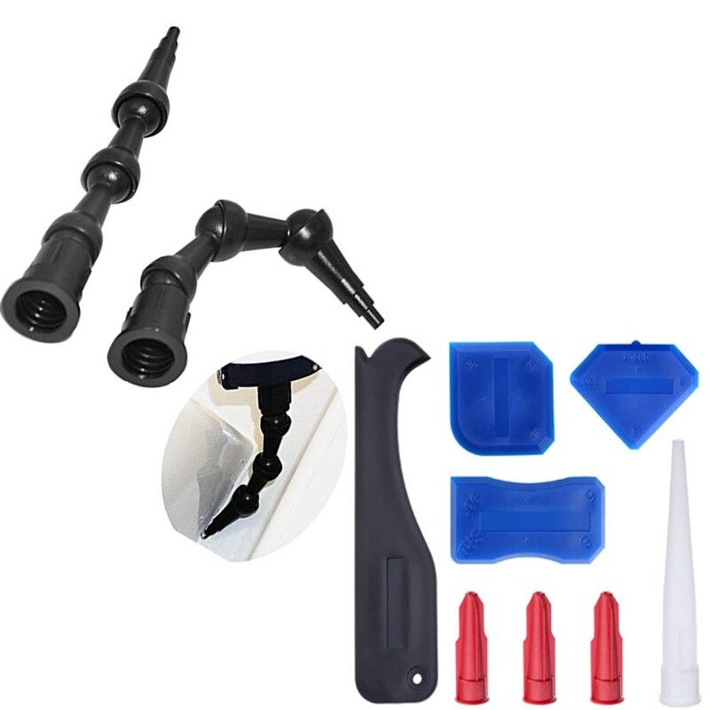 Free Shipping 10sets Per Order 2pcs 45 Degree Angled Silicone Sealant Nozzle and Professional Caulking Nozzle and Scraper