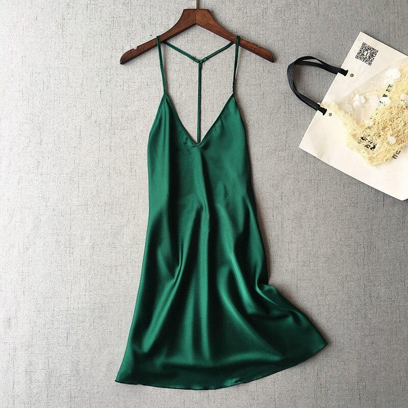 Sexy Blackless Spaghetti Strap Women Nightdress V-Neck Fashion Female Sleepwear