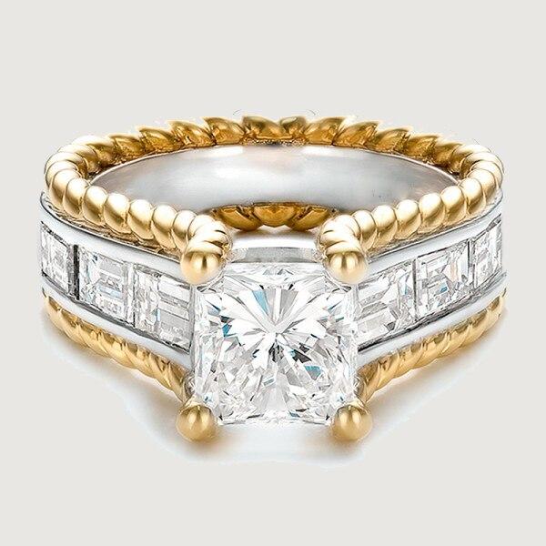 Joyería de moda para mujeres 2016 de alta calidad, anillo de compromiso de zirconia cúbica aaa con relleno de oro barato
