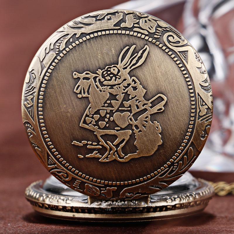 Regalo de Navidad reloj de bolsillo reloj de enfermera hora Alicia en el país de las Maravillas lindo conejo Orologio Donna Vintage Dropshipping Drop Shipping