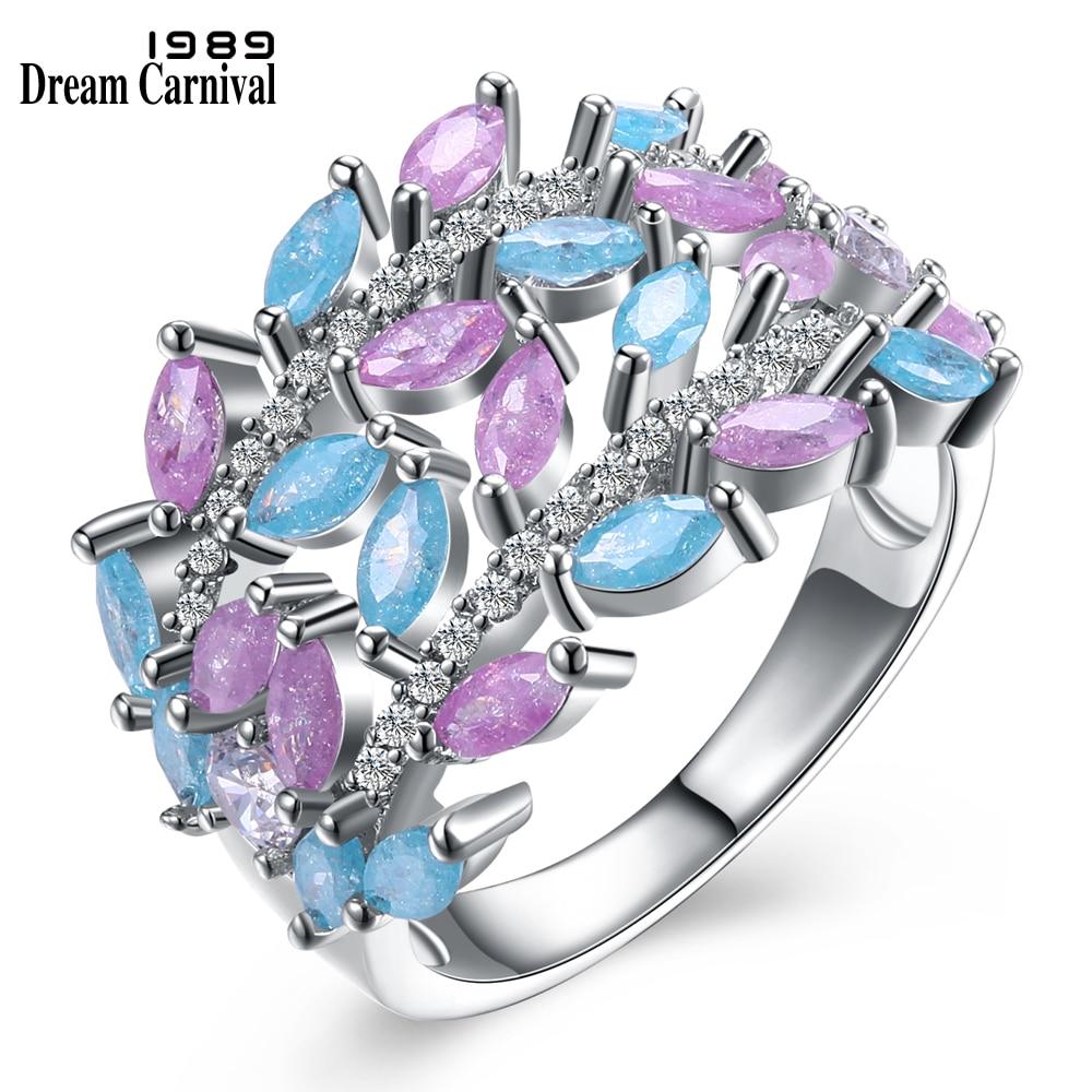 Женские кольца DreamCarnival, Роскошные блестящие украшения из циркония светло-розового и синего цветов в форме листиков, SJ30057R