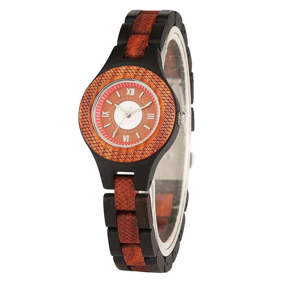 Full Wood Wristwatch with Wooden Leather Strap Rome Number Dial Brown Round Dial Man Woman Christmas Anniversary Birthday Gift redfire coffee brown walnut wood men watch brown genuine leather watch strap casual wooden mens watches digital round dial