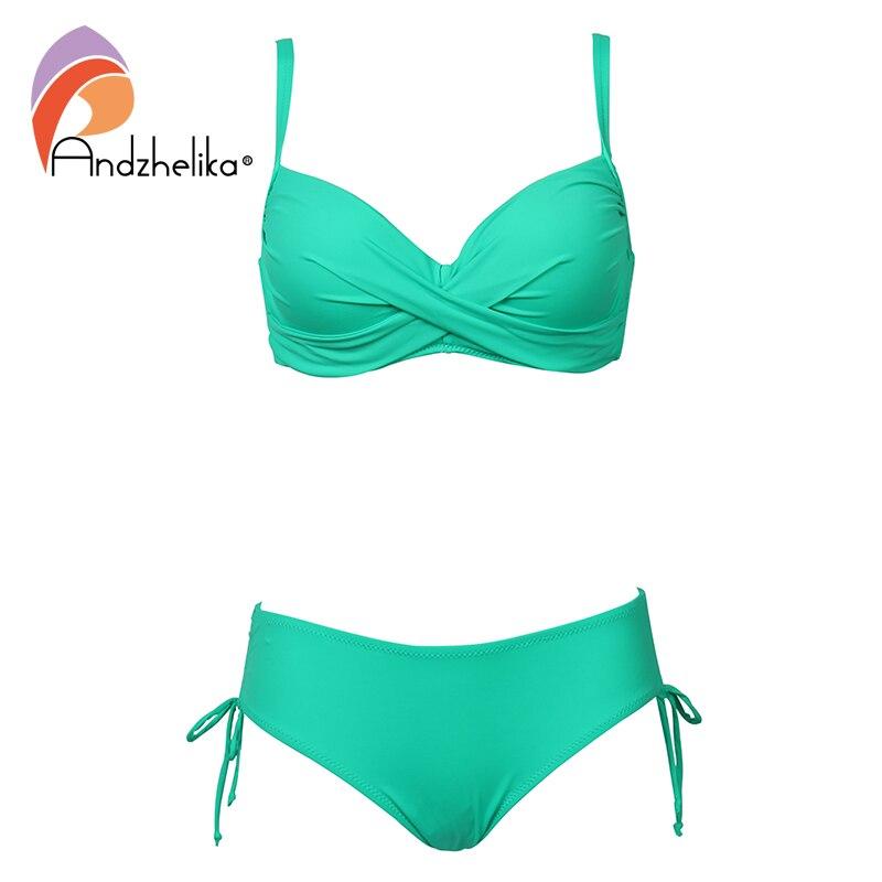 Conjunto de Bikini de talla grande Andzhelika 2019, traje de baño sólido, Bikini Halter, ropa de playa de verano, traje de baño con tiras cruzadas, traje de baño hasta la cintura