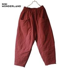 Nini Wonderland 2019 invierno espesamiento sólido algodón caliente Pantalones Casual Harem pantalones mujeres cintura elástica pantalones sueltos para mujer