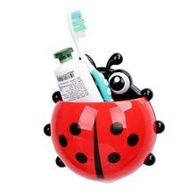 Plastic Ladybug toothbrush holder Toiletries Toothpaste Holder Hotel Bathroom Sets Suction Hooks Tooth Brush container ladybird