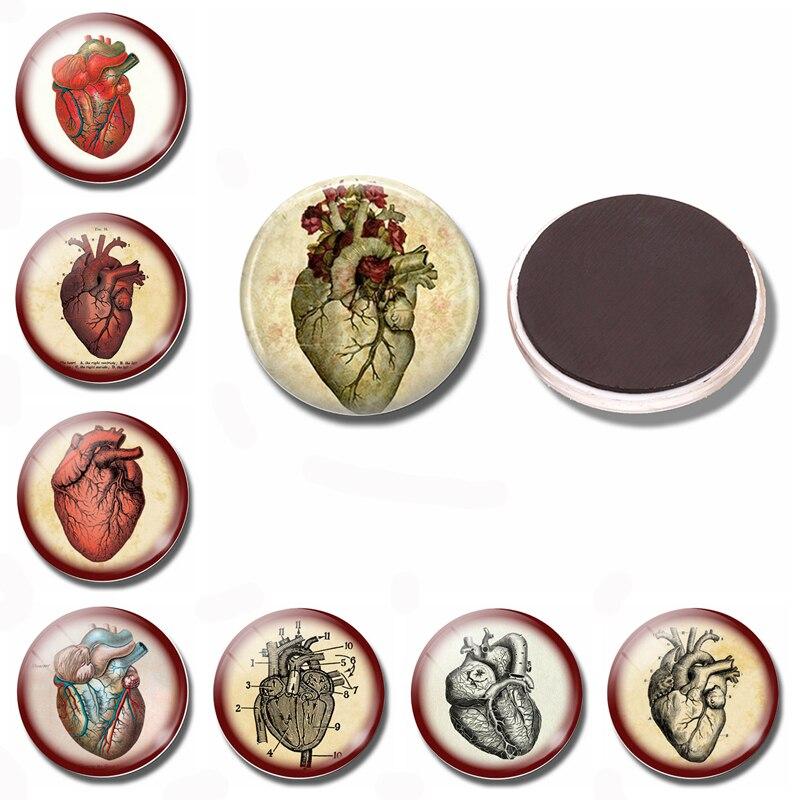 Сердце Стимпанк 30 мм магнит на холодильник стимпанк анатомический стеклянный кабошон, магнитные наклейки на холодильник держатель для нот украшение для дома
