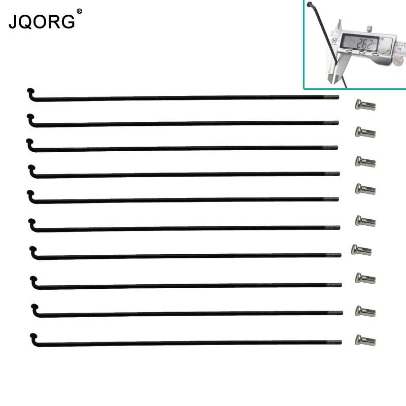 JQORG 12G diámetro 2,6mm Color negro e-bike radios 45 # acero al carbono igual diámetro rueda eléctrica para bicicleta radios longitud 60mm-310mm