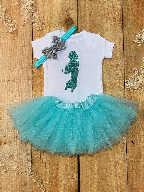 Personalizar Jasmine princesa cumpleaños Bodi para bebés recién nacidos una pieza Tutu vestido traje pelele Sets baby shower fiesta regalos