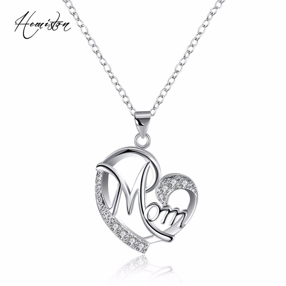 Hemiston marca amor mamá patrón colgante collar con Zirconia joyería de moda regalo para la niña, longitud 45cm, venta al por mayor TF 316