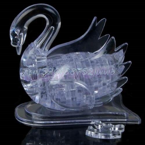 3D Crystal Puzzle Jigsaw Model DIY Swan IQ Toy Gift Souptoy Furnish Gadget  #T026#
