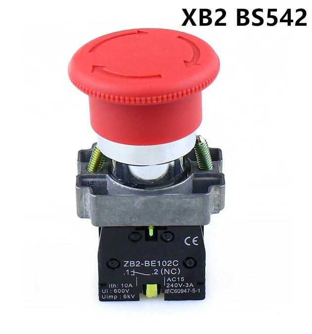 Alta calidad XB2-BS542 22mm NC rojo de champiñón parada de emergencias interruptor de botón
