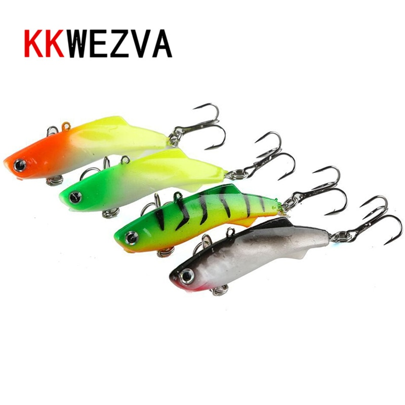 KKWEZVA Winter Fishing Lure 4pcs VIB Ice Fishing Lure Soft Bait 5cm 8.5g Isca Artificial Bait Wobber Sinking Fishing Lure enlarge