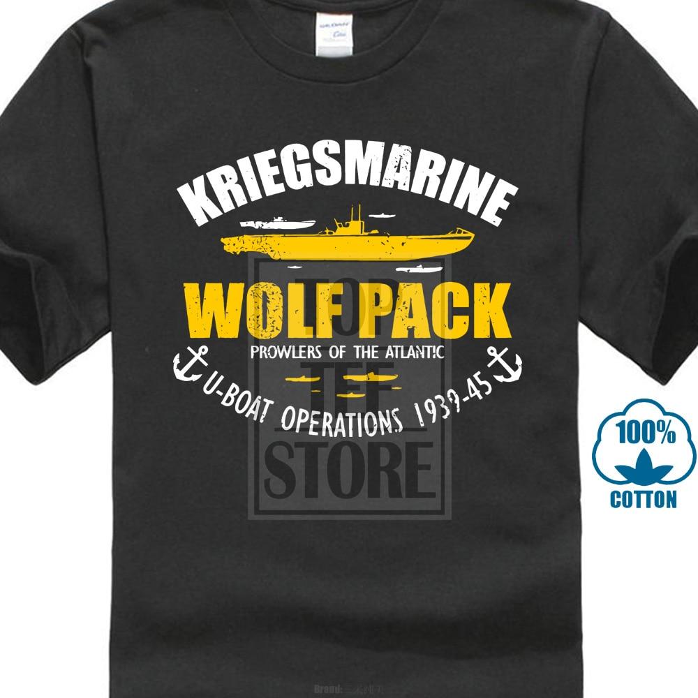 2018 gran oferta 100% algodón Ww2 alemán barco U submarino T camisa Kriegsmarine Wolf Pack verano camiseta de estilo