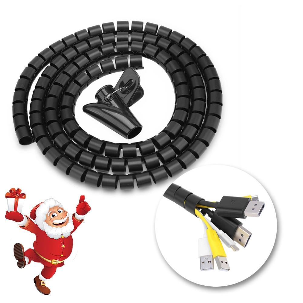 3 tamanhos flexível tubo espiral cabo organizador fio envoltório cabo protetor fio cabo de armazenamento fio tubo enrolador de cabo para casa e escritório