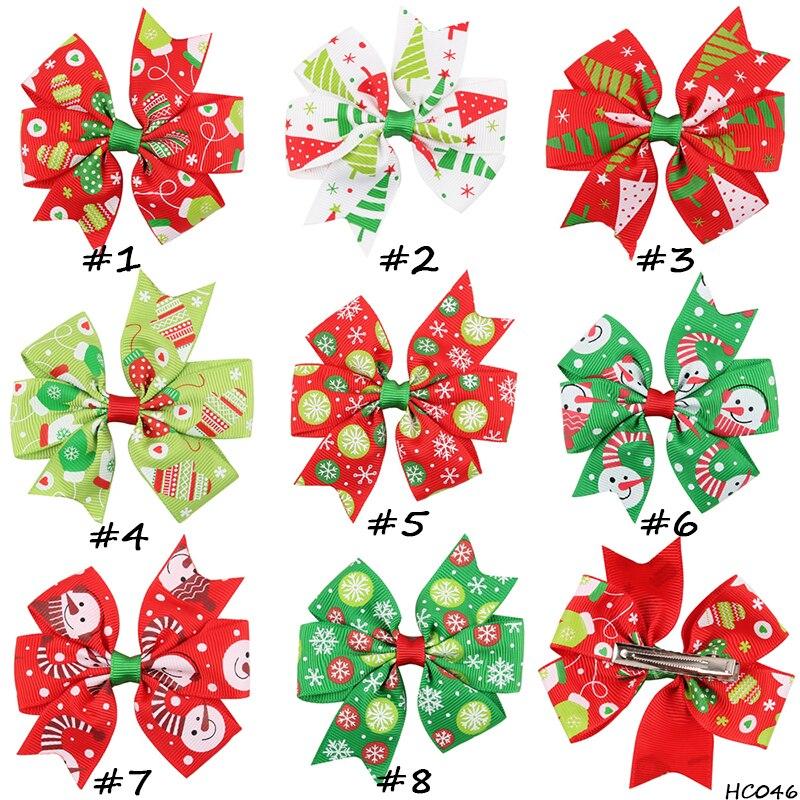 30 unids/lote, 15*12 cm cinta caliente lazo para el pelo de Navidad lazos Boutique para accesorios de moda para el cabello