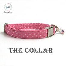 Collier avec cloche pour chiens   Produit de créateur personnalisé pour chiot animal de compagnie, collier à points roses pour chien et chat,